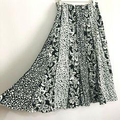 10-20 New A Line Taupe Print Black Panel Skirt Elastic Waist Swing Floaty Style