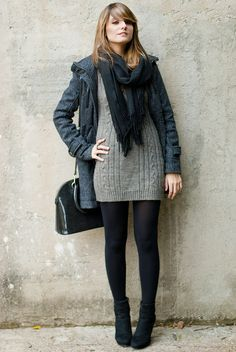 Sweaterdress scarf black tights style inspiration 2014 in 20 Look Fashion, Winter Fashion, Fashion Outfits, Womens Fashion, Casual Outfits, Cute Outfits, Elegantes Outfit, Winter Mode, Tights Outfit