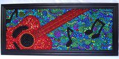 Mardi Gras bead abstract guitar mosaic art, music notes, red, orange, black, blue, green, framed art, OOAK.. $143.00, via Etsy.