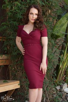 Emily is wearing this!! <3 Pinup Couture Erin Wiggle Dress in Short Sleeves in Wine.