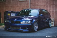 BMW E46 3 series Touring blue deep dish slammed