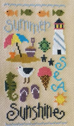 completed cross stitch Lizzie Kate Summer Sea Sunshine sampler