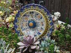 DJ's Drought Resistant Plate Flowers. #128.   Garden Yard Art glass and ceramic plate flower