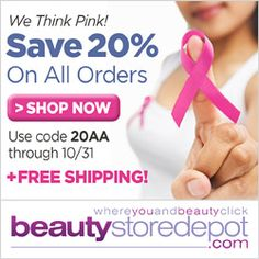 Beautystoredepot.com thinks pink! SAVE 20% all month long + FREE shipping with code 20AA and a portion of our October proceeds will go to breast cancer research.