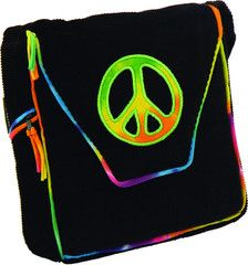 Black Corduroy Shoulder Bag with Peace Sign Embroidery (Medium)