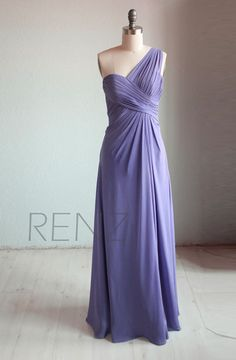 One shoulder Bridesmaid dress Wedding dress Party by RenzRags