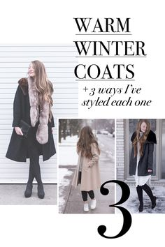 How to style a winter coat with 3 coats that are warm and stylish.  Click through for winter outfit inspiration!