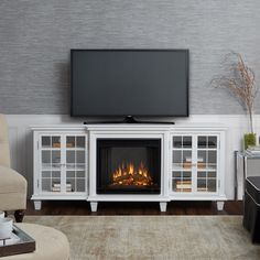 Marlowe 70 in. Freestanding Electric Fireplace TV Stand in White