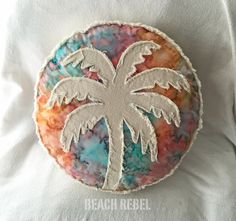 Palm tree boho pillow, rainbow tie dye batik and distressed natural denim round pillow