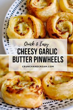 These quick and easy cheesy garlic butter pinwheels are just like garlic bread, only more delicious! Theyre packed full of melty mozzarella cheese, garlic butter and herbs, and the puff pastry makes them super quick and easy to make! Fun Cooking, Cooking Recipes, Easy Recipes, Bread Recipes, Healthy Recipes, Garlic Butter, Garlic Bread, Puff Pastry Recipes Savory, Scrolls Recipe