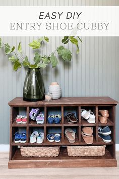 How to build a beautiful shoe cubby bench - perfect for an entry or even an entry closet! This will help keep your shoes organized and looking great. Shoe Cubby Bench, Entryway Shoe Storage, Entryway Ideas, Diy Furniture Renovation, Building Furniture, Entry Closet, My Building, Small Entryways, Build Something