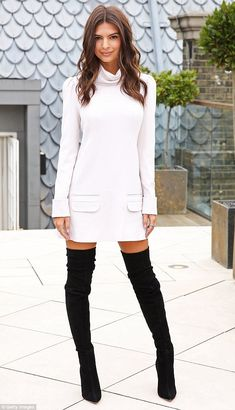 Pins on parade: Emily Ratajkowski displayed her long legs in a pair of sexy thigh-high boots as she attended the We Are Your Friends photocall at the Corinthia Hotel in London on Tuesday