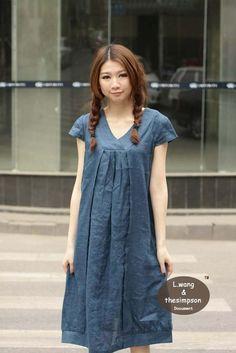 Cappucino Dress-linen or triple gauze