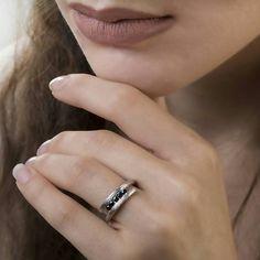 Υφή διπλό δαχτυλίδι μινιμαλιστικό δαχτυλίδι διπλό δαχτυλίδι 925