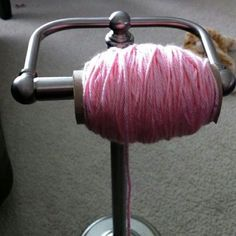 Toilet paper holder for yarn - what a clever idea!