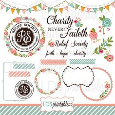 RSCA001 - LDS Relief Society Clipart Clip art Faith Hope Charity Charity never faileth