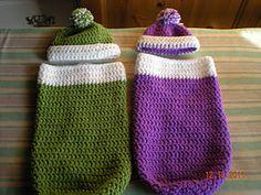 crocheted sleep sacks with hats