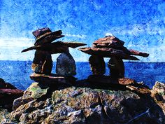 Inukshuk by Zinvolle Art Bouldering, Arctic, Statues, Objects, Canada, Culture, Wall Art, Stone, Painting