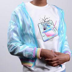 Vaporwave Nintendo jumper & blue sheer jacket @kokonara89 @kokopiebrand @Spriceimages