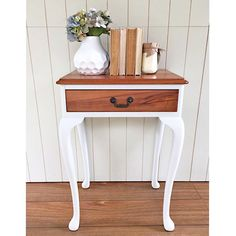 SOLD -- I had a busy weekend with my boys but managed to squeeze in this lovely piece and give it a lift with #fusionmineralpaint in Champlain {$160} local pick up #brisbane or also available on my #etsy store #qld #Queensland #womenwhodiy #vintage #vintagefurniture #whiteandwood #queenannestyle #paintedfurniture @fusionmineralpaint