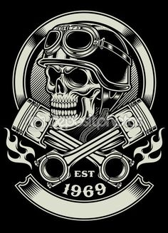 Старинный череп мотоциклиста с пересеченной поршневой эмблемой — стоковая иллюстрация #59635869