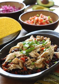 Slow Cooker Chicken Black Bean Tacos (I added an extra can of black beans and would add more green chilies or spices for flavor)