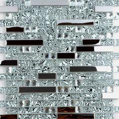 1/Tapis de verre carrelage mosa/ïque Verre Mosa/ïque Acier inoxydable or argent blanc 30/x 30