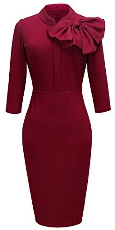 Women's Wear to Work Dresses - HOMEYEE Womens Vintage Bowknot 34 Sleeve Party Dress B244 * Be sure to check out this awesome product.