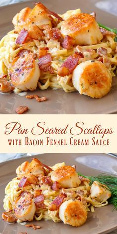 Pan Seared Scallops with Bacon Fennel Cream Sauce - The most popular pan seared scallops recipe ever on Rock Recipes. Folks just love the luscious bacon cream sauce. A terrific, easy dinner party recipe or just as a great romantic dinner for two. by young Rock Recipes, Fish Recipes, Seafood Recipes, Cooking Recipes, Healthy Recipes, Healthy Scallop Recipes, Recipes For Two, Bay Scallop Recipes, Cooking Tips