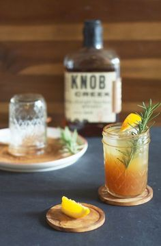 Bourbon Apple Cider. The combination of apple cider mixed with bourbon, garnished with a cinnamon-sugar rimmed glass, a fresh orange wedge and a rosemary sprig is the perfect way to celebrate classic fall flavors.