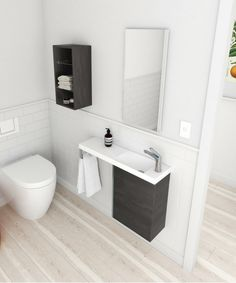 Mini-B vanity in fiordland elm Small Bathroom Vanities, Bathroom Ideas, Vertical Storage, Small Spaces, Toilet, Vanity, Mini, Facial, Design