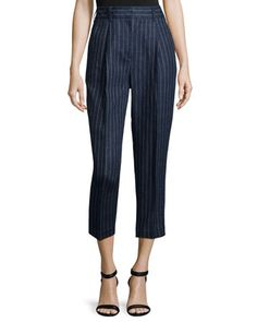 Linen+Pinstripe+Carrot+Pants,+Navy+by+3.1+Phillip+Lim+at+Neiman+Marcus.