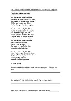 poetry comprehension worksheets from the teacher 39 s guide fall poetry for kids halloween. Black Bedroom Furniture Sets. Home Design Ideas
