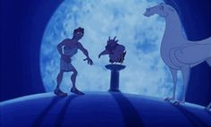 Pegasus is all about being motivational and supportive for Hercules through his trials and tribulations.