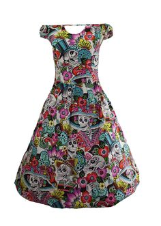 You can Arrive in Skulls in this Pretty Day of The Dead Inspired Multicolor Retro cotton dress by Folter sodl at moderngrease.com.