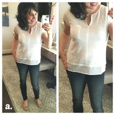 "White T-Shirt Review:  great white tee with split neck and illusion hem line.  (Worn with my ""pajama"" jeans and the comfiest flats EVER!)"