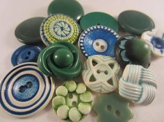 Vintage Buttons  Cottage chic mix of green and by pillowtalkswf, $8.95