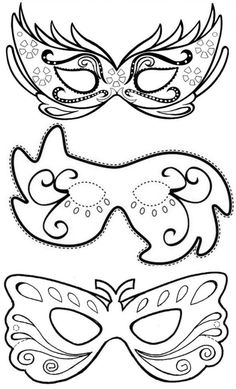 Máscara de Carnaval - Moldes para fazer, colorir e imprimir - Vorlagen,einfach für alles - Mardi Gras Mask Template, Masquerade Mask Template, Masquerade Party, Masquerade Masks, Theme Carnaval, Carnival Crafts, Diy Mask, Diy Crafts Videos, Mask For Kids