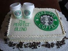 Ways to incorporate Starbucks at your wedding.   Acknowledge your love for each other, and for coffee, in your engagement cake.