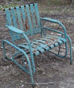 Retro Metal Lawn Chair Teal Rustic Vintage Porch Furniture This is about what Vintage Metal Glider, Vintage Metal Chairs, Vintage Outdoor Furniture, Metal Lawn Chairs, Metal Garden Furniture, Vintage Porch, Porch Furniture, Furniture Ideas, Glider Chair