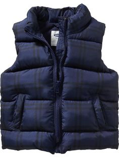 Frost Free Plaid Vest   Old Navy --- I just bought this in a 4T, on sale for $15. We'll get at least two winters out if it.
