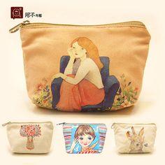 创意帆布零钱包 小钱包 卡通可爱 横款方型 甜美淑女 小清新/文艺