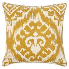 Two cotton linen pillows with saffron ikat motifs.  Product: Set of 2 pillowsConstruction Material: Linen and co...