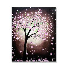 Original Tree Painting, Pink Cherry Blossom Tree, Pink Flower Tree Art, Acrylic Painting Wall Decor, FREE SHIPPING 20x24