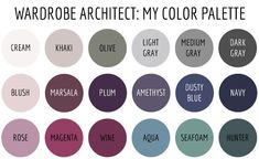 Soft summer ---Wardrobe Architect - My Color Palette Soft Summer Color Palette, Summer Colors, Deep Winter Palette, Deep Winter Colors, Color Combos, Color Schemes, Style Feminin, Winter Typ, Fall Winter
