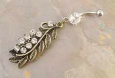 Feather Belly Button Jewelry Ring Studded Crystals