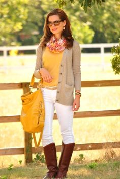 Fall White Denim jeans, riding boots, yellow top and handbag, neutral cardigan Casual Autumn Outfits Women, Classy Fall Outfits, Fall Outfits For Work, Fall Winter Outfits, Autumn Winter Fashion, Casual Outfits, Cute Outfits, Fall Fashion, Winter Style