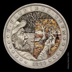 """Golden Autumn on Canvas"" - hand-engraved coin by Aleksey Saburov (2014)"