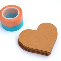 25 Large Heart Embellishments or Gift Tags in Kraft by PaperCottonLove, $5.50 www.papercottonlove.com