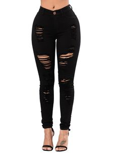 Black Wash Denim Destroyed Skinny Jeans_Butt Lifting Skinny Jeans_Women Jeans_Sexy Lingeire | Cheap Plus Size Lingerie At Wholesale Price | Feelovely.com